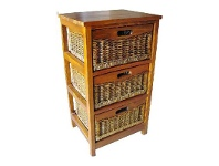 LivingStyles Berala 3 Cane Drawer Mango Wood Cabinet