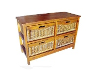 LivingStyles Berala 4 Cane Drawer Mango Wood Wide Cabinet