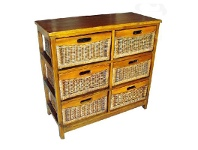 Berala Solid Mango Wood Timber 6 Cane Rattan Baskets Sideboard - Honey
