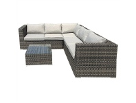 LivingStyles Sanford Wicker Outdoor Corner Lounge Set