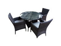 LivingStyles Sanford 5 Piece Wicker Outdoor Round Dining Table Set, 110cm