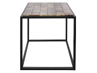 LivingStyles Treves Parquetry Timber & Metal Side Table