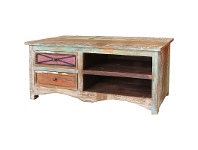 LivingStyles Grafton Distressed Solid Timber 2 Drawer 120cm TV Stand