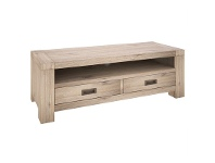 LivingStyles Laccadive 121cm Acacia Timber 2-Drawer TV Unit in Ash Finish