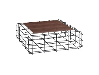 LivingStyles Wasco Metal Wire Square Coffee Table with Wooden Top, 92cm