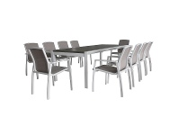 Ruby 11 Piece Aluminium Outdoor Extensible Dining Table Set, 220cm-340cm, White