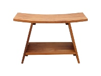 LivingStyles Archie Solid Teak Timber Shower Stool with Shelf