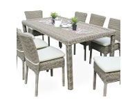 LivingStyles Kobo 7 Piece Wicker Outdoor Dining Table Set, 180cm