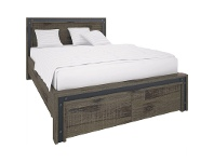 LivingStyles Pittsfield Acacia Timber Bed with End Drawers, Queen