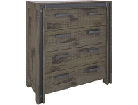 LivingStyles Pittsfield Acacia Timber 5 Drawer Tallboy