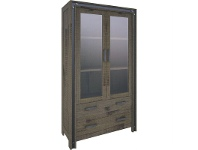 LivingStyles Pittsfield Solid Acacia Timber 2 Door 2 Drawer Display Cabinet