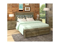 LivingStyles Yarsley Solid Acacia Timber King Bed with End Drawers