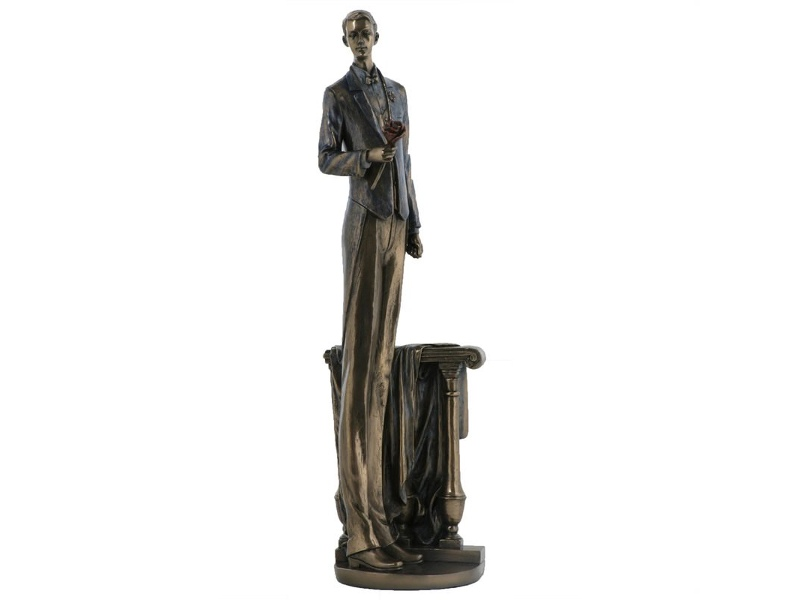 Veronese Cold Cast Bronze Coated Figurine, Waiting in Love, Male