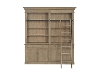 Bonn 2-Bay Oak Timber Library Bookcase with Ladder, Weathered Oak