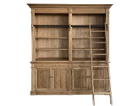 Bonn 2-Bay Oak Timber Library Bookcase with Ladder, Natural Oak