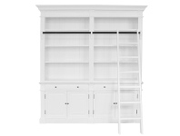 LivingStyles Bonn 2-Bay Birch Timber Library Bookcase with Ladder, Matt White