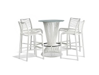 LivingStyles Wanika 5 Piece Commercial Grade Glass Top Bar Table Set, White