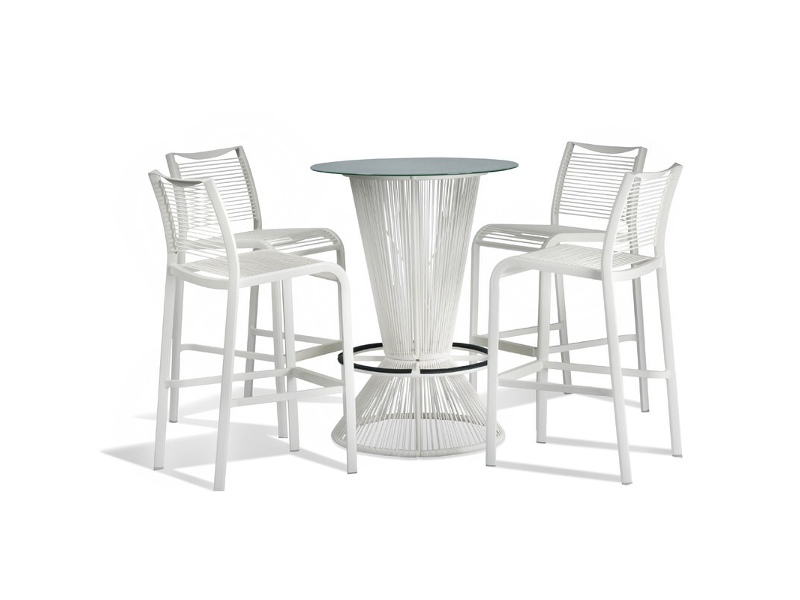 Wanika 5 Piece Commercial Grade Glass Top Bar Table Set, White