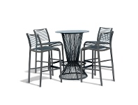 LivingStyles Wanika 5 Piece Commercial Grade Glass Top Bar Table Set, Grey
