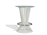 LivingStyles Wanika Commercial Grade Indoor/Outdoor Round Glass Top Bar Table, 78cm, White