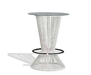 Wanika Commercial Grade Indoor/Outdoor Round Glass Top Bar Table, 78cm, White