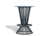 LivingStyles Wanika Commercial Grade Indoor/Outdoor Round Glass Top Bar Table, 78cm, Grey