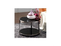 LivingStyles WD-101 Lamp Table in Black Stainless Steel And Glass