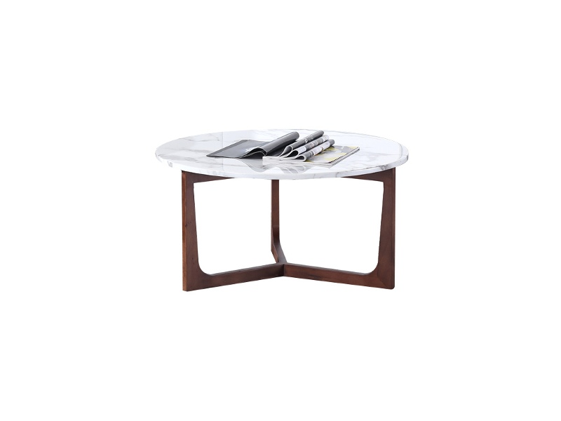 Reatha Marble Top Timber Round Coffee Table, 80cm