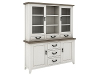 LivingStyles White Haven Solid Pine Timber 2 Door 3 Drawer Hutch Cabinet