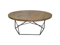LivingStyles Pekisko Solid Timber and Metal 85cm Round Coffee Table
