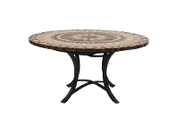 LivingStyles Moroccan Marble Stone Round Outdoor Dining Table, Minerva Base, 120cm
