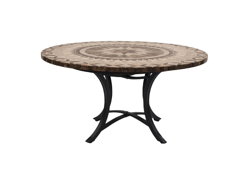 Moroccan Marble Stone Round Outdoor Dining Table, Minerva Base, 120cm