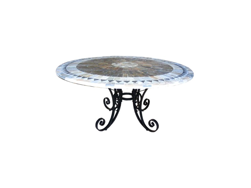 Sunray Slate Stone Round Outdoor Dining Table, Fiora Base, 150cm
