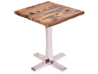 LivingStyles Catherine Recycled Ship Wood 80cm Square Dining Table with Stainless Steel Base - Natural