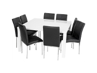 LivingStyles Whitney 9 Piece Dining Set with Black Maroubra Chairs