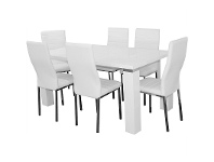 LivingStyles Whitney 7 Piece Dining Set with White Napoli Chairs