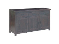 LivingStyles Pluto Solid Mango Wood Timber 3 Door 3 Drawer Buffet Table, 168cm, Chocolate