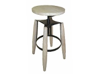 LivingStyles Hemlock Solid Timber and Metal Round Adjustable Stool, White Wash