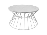 LivingStyles Sierra Metal Wire Round Coffee Table with Marble Top, 80cm