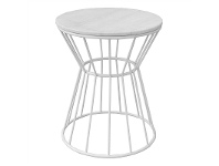 LivingStyles Sierra Metal Wire Round Side Table with Marble Top