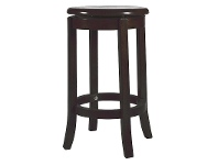LivingStyles Vaxjo Solid Rubberwood Timber Swivel Stool with Timber Seat, Chocolate