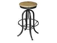 LivingStyles Conrad Industrial Adjustable Metal Bar Stool with Elm Timber Seat, Natural/Black