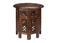 LivingStyles Carved Rubber Wood Timber Round Side Table, Burnt Natural