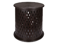 LivingStyles Quarata Wooden Round Side Table, Brown