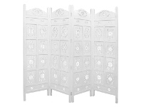 LivingStyles Jali Mango Wood Quad Fold Screen, Antique White