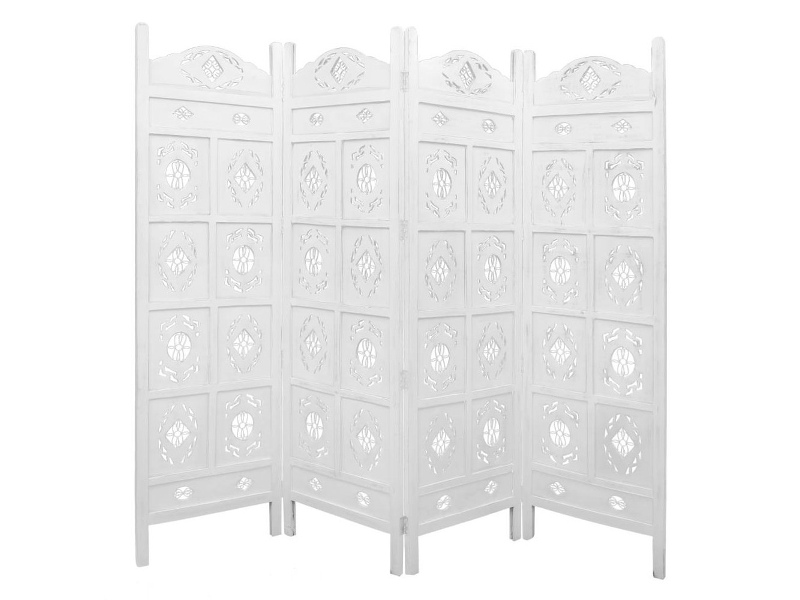 Jali Mango Wood Quad Fold Screen, Antique White