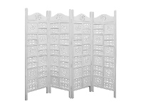 LivingStyles Arawata Mango Wood Quad Fold Screen, Antique White