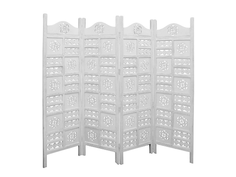 Arawata Mango Wood Quad Fold Screen, Antique White