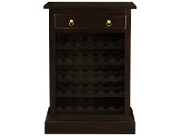 LivingStyles Boku Mahogany Timber Slim Wine Rack with Drawer, Chocolate