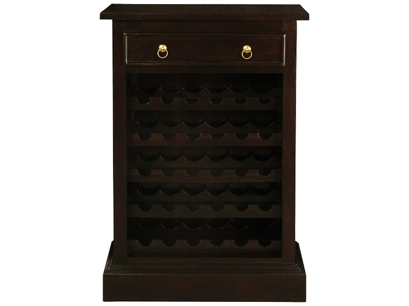 Boku Mahogany Timber Slim Wine Rack with Drawer, Chocolate